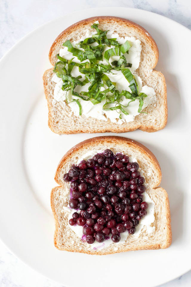 Open Faced Blueberry Basil Goat Cheese Panini Sandwich