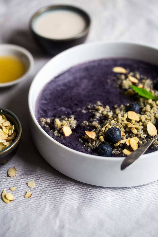 Blueberry Almond Breakfast Quinoa Smoothie Bowl + 17 other smoothies with secretly healthy ingredients!