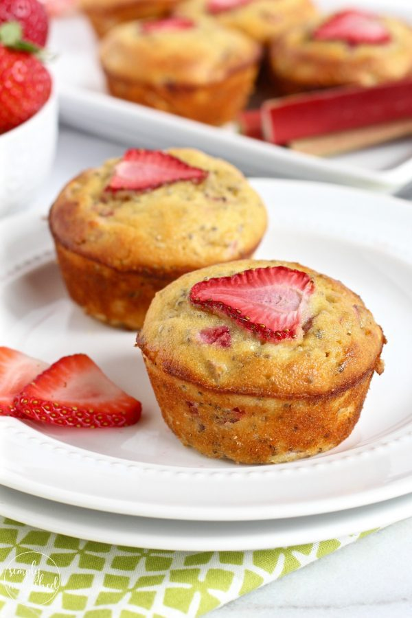 Strawberry Rhubarb Chia Muffins-Simply Nourished