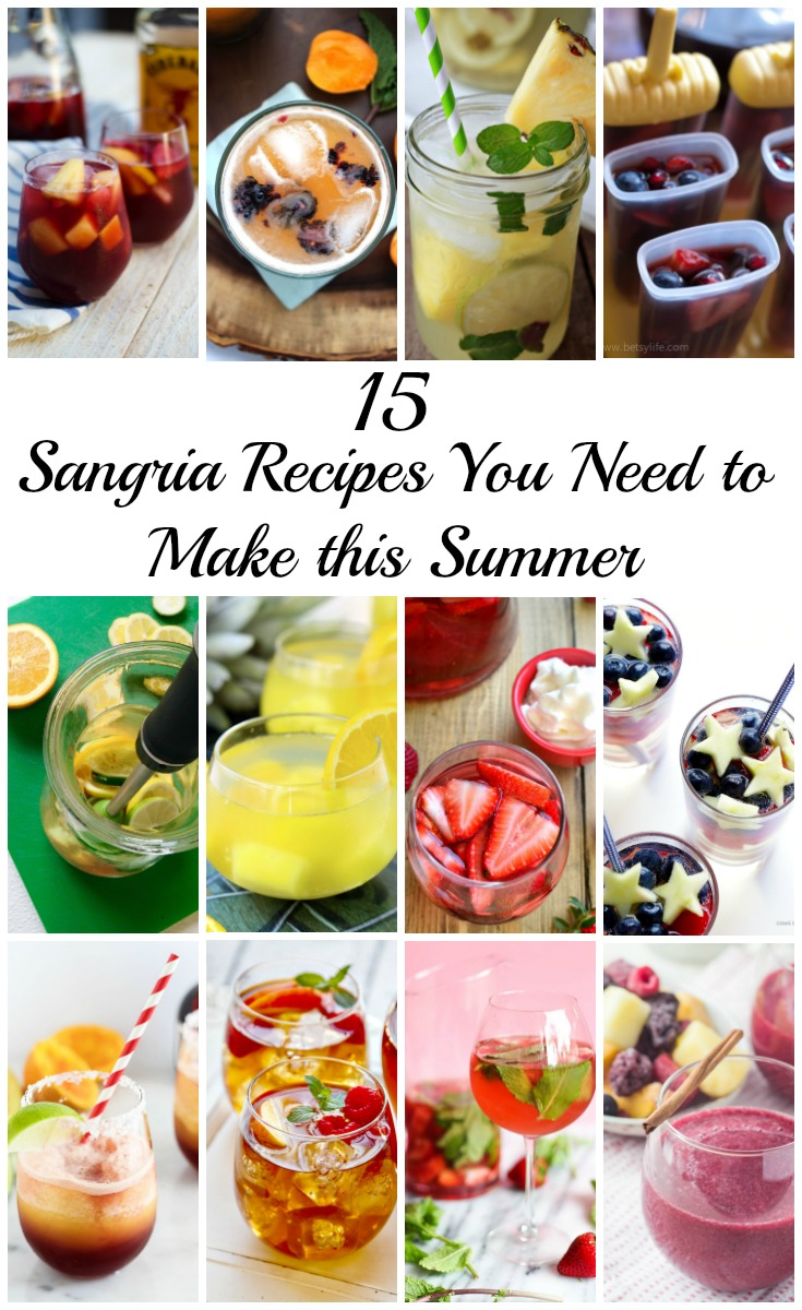 15 Recipes for Sangria You Need to Make this Summer -- Turn any get together this season into a party with these irresistible drink recipes! | @sinfulnurition www.sinfulnutrition.com