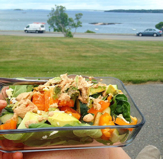 Salad Lunch with ocean