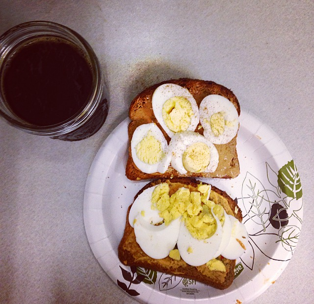 Eggs on Toast with Coffee