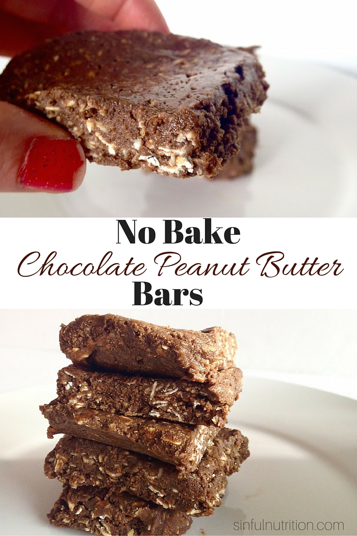 "Chocolate Peanut Butter ""No Bake"" Bars -- A secretly healthy recipe with no refined sugar, oil, or flour. A perfectly portable snack or breakfast idea! 