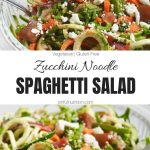Zucchini Noodle Spaghetti Salad Recipe Collage with Text Overlay