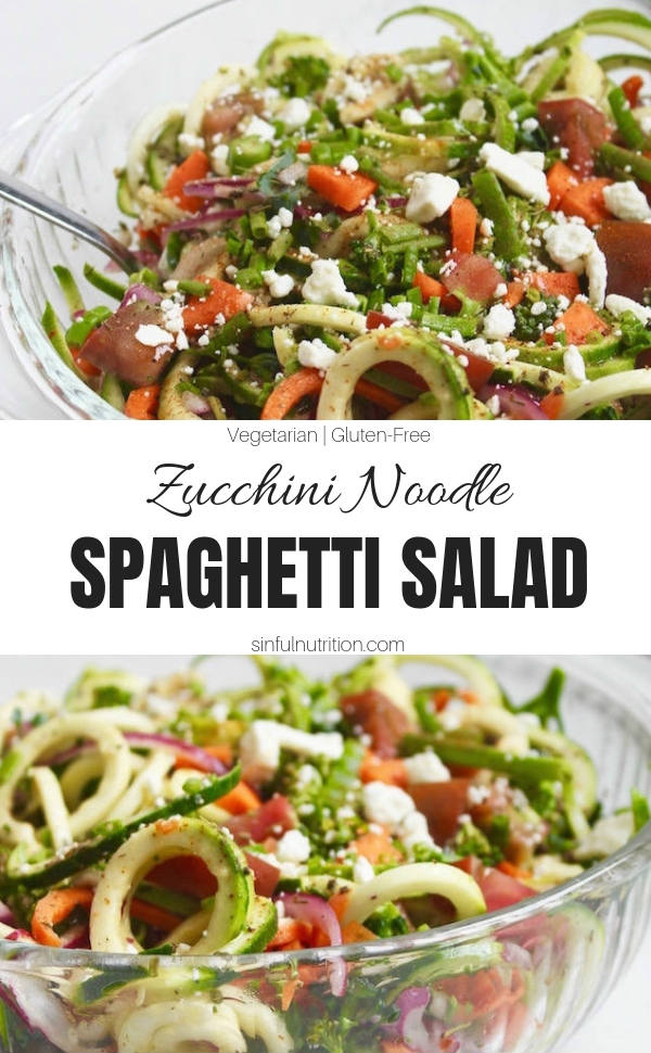Zucchini Noodle Spaghetti Salad Recipe -- A quick & easy, healthy side dish for summer potlucks or cookouts! | @sinfulnutrition #sinfulnutrition #zoodlepastasalad #zucchininoodlesalad