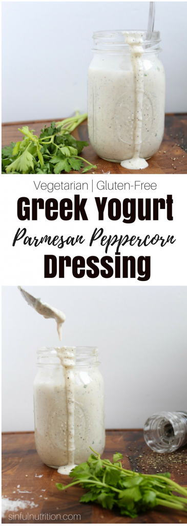 Parmesan Peppercorn Greek Yogurt Dressing Recipe -- A healthy version of a classic creamy dressing perfect for a salad or dip! | Vegetarian | Gluten-Free | @sinfulnutrition