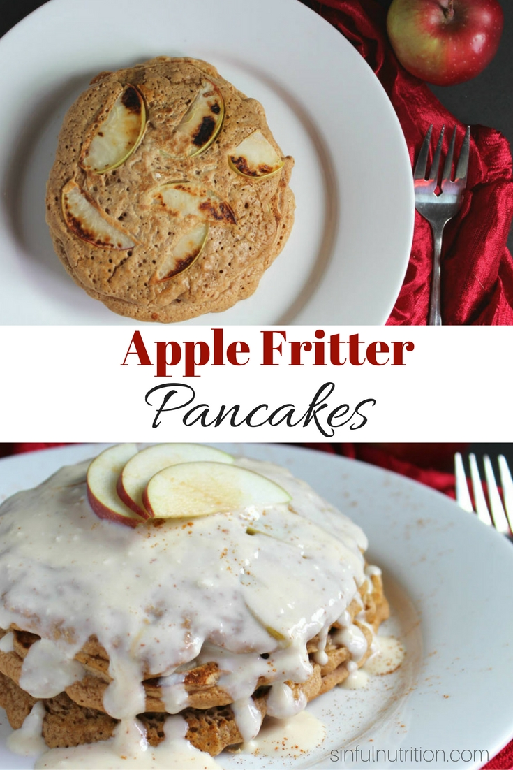 Apple Fritter Pancakes Recipe -- A secretly healthy breakfast with all the flavor of an apple fritter! Perfect for Sunday morning brunch! | @sinfulnutrition www.sinfulnutrition.com