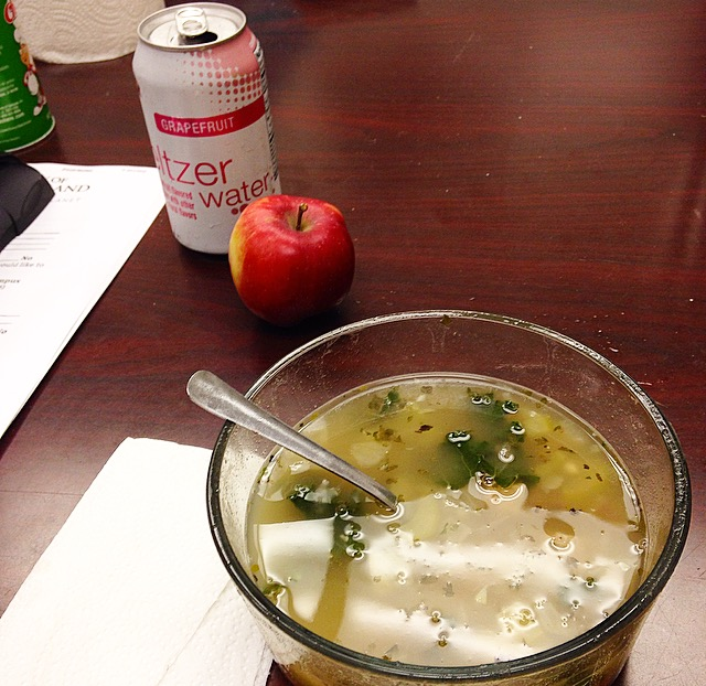 seltzer and soup