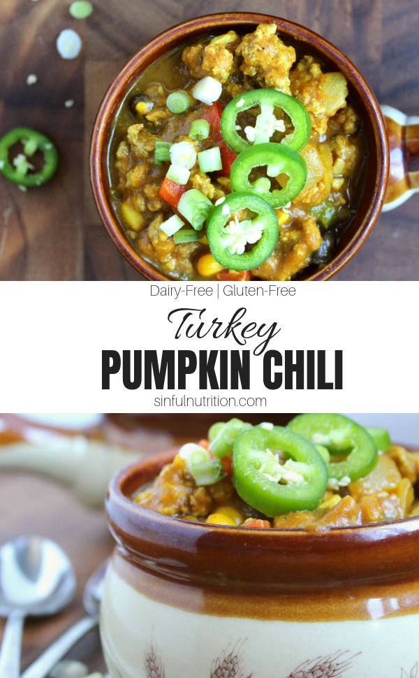AD | Turkey Pumpkin Chili Recipe -- A healthy lunch or dinner just in time for fall made with lean ground turkey, fresh vegetables, and pumpkin | #glutenfree | #dairyfree | #sponsored | #sinfulnutrition | #pumpkin | #chili | #fallrecipe @sinfulnutrition