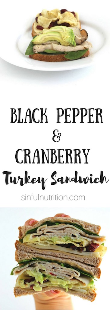 Black Pepper and Cranberry Turkey Sandwich Recipe -- Spicy black pepper #turkey, dried cranberries,  #hummus, and even chips are the best thing to happen to sliced bread! | #AD | #Sandwich | #Lunch | #Sabra | @sinfulnutrition
