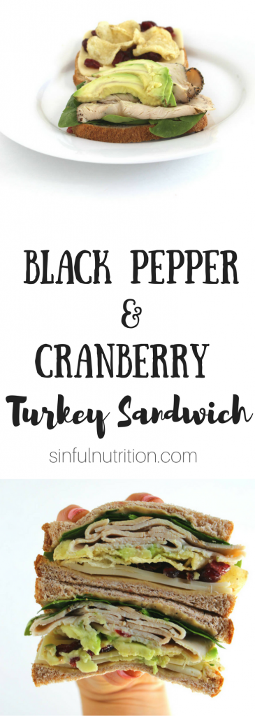 Black Pepper and Cranberry Turkey Sandwich Recipe -- Spicy black pepper turkey, dried cranberries, hummus, and even chips are the best thing to happen to sliced bread! | @sinfulnutrition @sabra #ad #thereciperedux