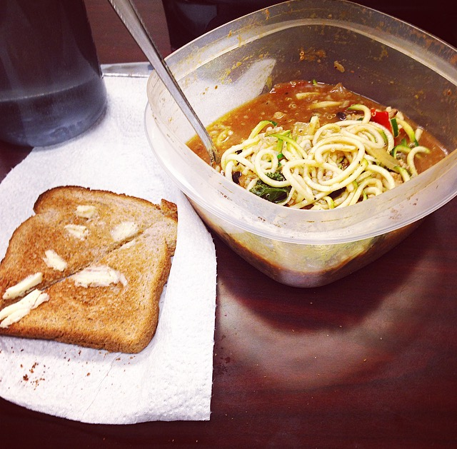 toast with soup and zoodles