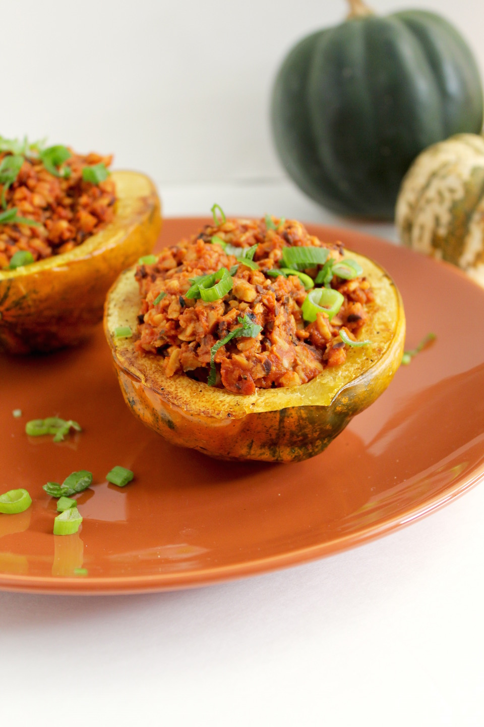 Smoky Tempeh Stuffed Acorn Squash on Orange Plate