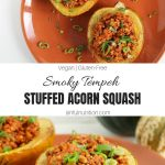 Smoky Tempeh Stuffed Acorn Squash Collage with Text Overlay