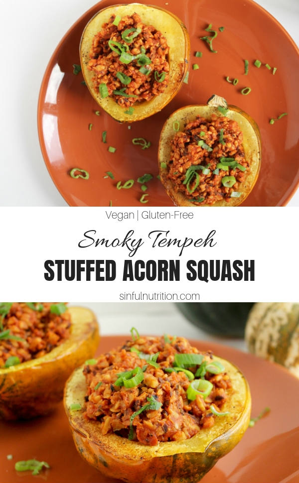 Smoky Tempeh Stuffed Acorn Squash -- A hearty vegan recipe that's perfect for your holiday meal or dinner! You won't even miss the meat! | @sinfulnutrition | #sinfulnutrition | #veganrecipe | #thanksgiving | #stuffedsquash | #tempehrecipe | #vegetarianstuffedsquash