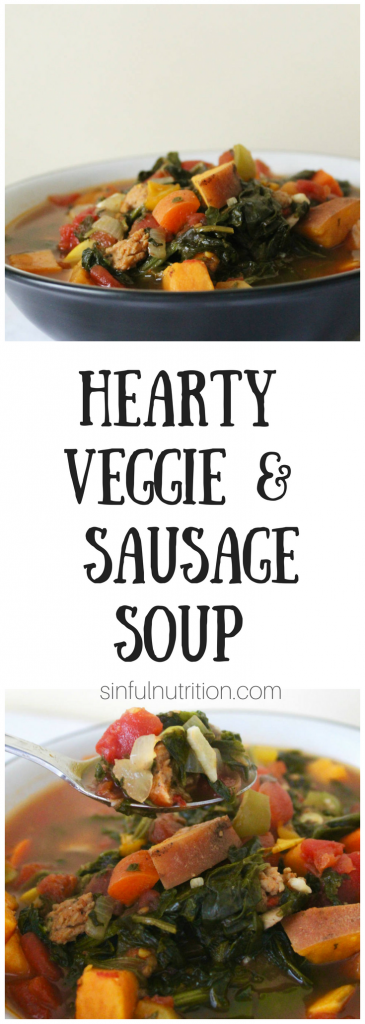 Hearty Veggie and Sausage Soup Recipe -- A healthy meal makeover full of vegetables, and spicy chicken sausage. Perfect for a cool weather lunch or dinner! | @sinfulnutrition #ad #fightbackbetter #glutenfree #paleo @alfrescogourmet
