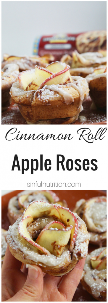 Cinnamon Roll Apple Roses Recipe -- Edible roses made with tart apple slices wrapped up in sweet and gooey cinnamon rolls. Such an easy and impressive treat for the holidays! | #AD @sinfulnutrition @immaculatebakes #ImmaculateBaking #ImmaculateHolidays