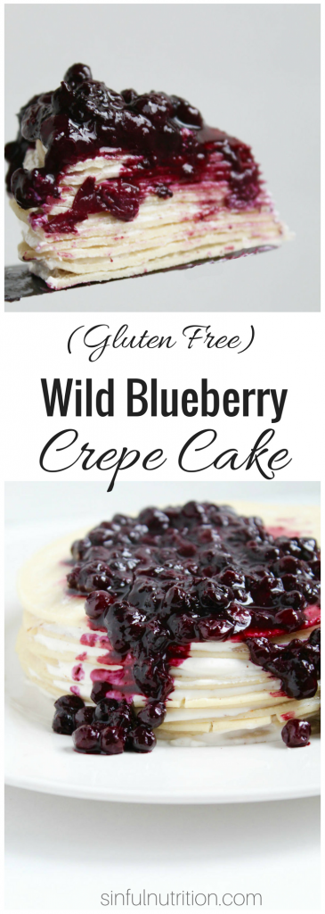 Easy Gluten Free Crepe Cake with Wild Blueberry Topping -- A sweet cream cheese filling, warm blueberry sauce, and an unexpected ingredient make this one of the easiest crepe cakes you'll ever make! | @sinfulnutrition #AD @wildbberries #glutenfree