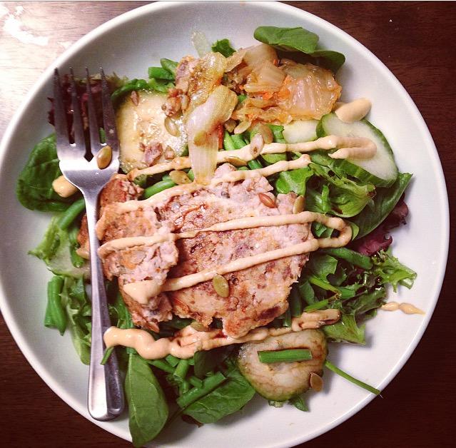 Kimchi with Salmon Salad