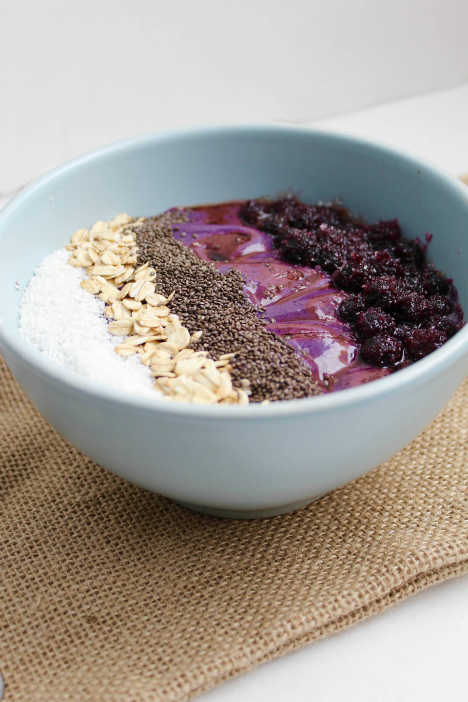 Wild Blueberry and Balsamic Smoothie Bowl Recipe -- A healthy breakfast bowl gets a unique twist with a splash of balsamic vinegar. You'll love the sweet and tango combo! | @sinfulnutrition @wildbberries #vegan #glutenfree #ad #wildyoursmoothie