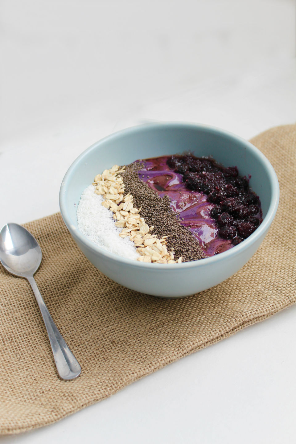Wild Blueberry and Balsamic Smoothie Bowl Recipe -- A healthy breakfast bowl gets a unique twist with a splash of balsamic vinegar. You'll love the sweet and tangy combo! | @sinfulnutrition @wildbberries #vegan #glutenfree #ad #wildyoursmoothie