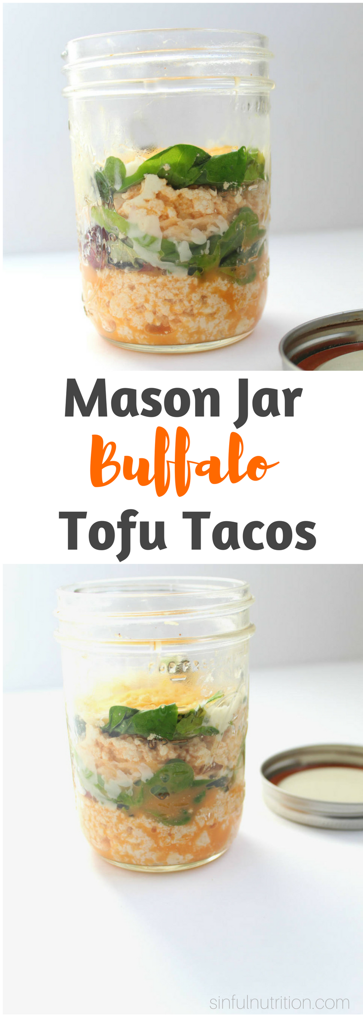 Mason Jar Tofu Buffalo Tacos Recipe -- Take your tacos on the go for a perfectly portable vegetarian lunch or dinner! | @sinfulnutrition