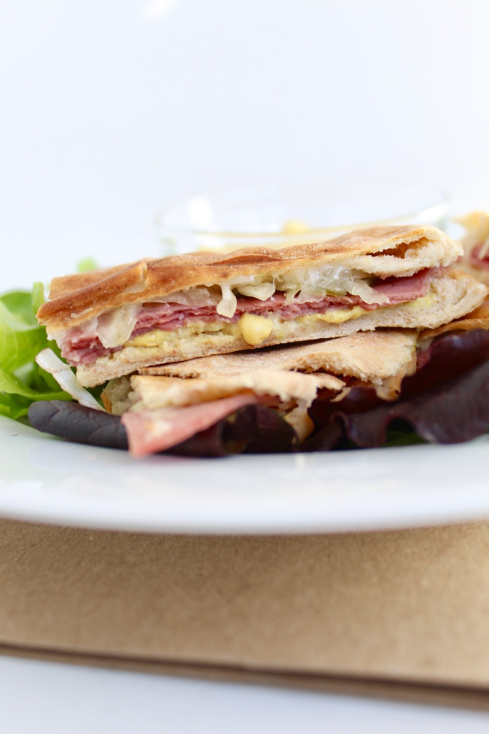 Corned Beef Sandwich Quesadilla on Plate