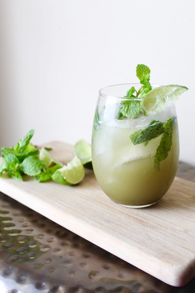 Matcha Green Tea Mojito with Ingredients