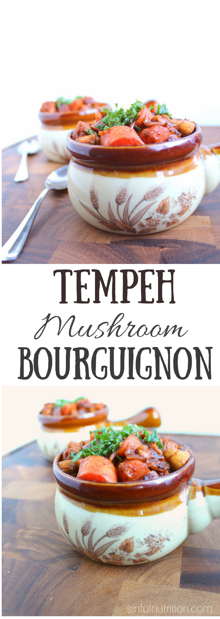 Vegan Tempeh Mushroom Bourguignon -- A classic French dinner recipe made meat and alcohol free! A stew of tempeh, mushrooms, and carrots simmered in a rich sauce made with grape juice! | @sinfulnutrition | AD | #TasteTheMightyConcord