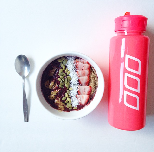 Water bottle and smoothie bowl