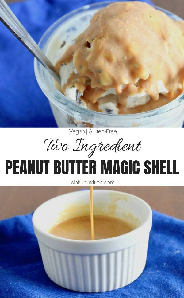 This two ingredient peanut butter magic shell recipe is homemade with just powdered peanut butter & coconut oil. The perfect ice cream topping for peanut butter lovers! | @sinfulnutrition #sinfulnutrition #HomemadeMagicShell #PeanutButterIceCreamSauce