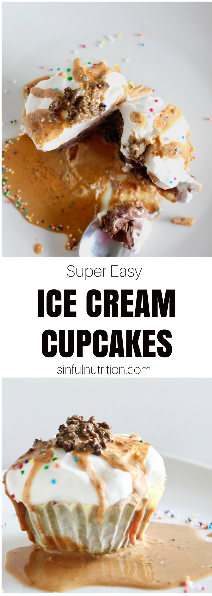 Super Easy Ice Cream Cupcakes -- A must-try recipe for any summer party or birthday! Layers of chocolate peanut butter crunchies, creamy ice cream, and whipped cream frosting. | @sinfulnutrition