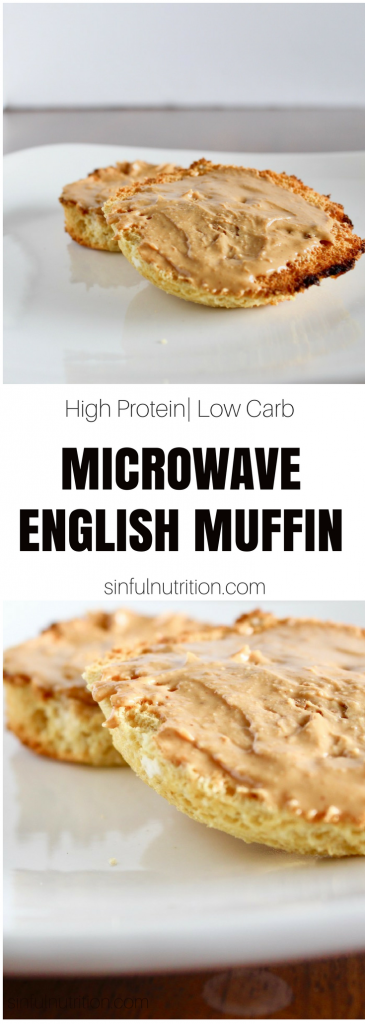 AD | A microwavable low carb English muffin recipe made with one bowl, five ingredients, and 12 grams of protein! Perfect for breakfast or a healthy snack! | @sinfulnutrition