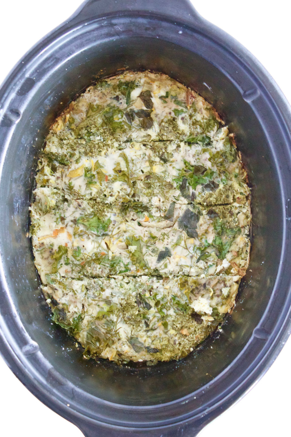 Slow Cooker Pesto Vegetable Frittata Recipe -- A super easy and healthy meal that takes minutes to prepare. Make with whatever veggies you have on hand! Perfect for breakfast, brunch, or even dinner! | @sinfulnutrition | vegetarian | gluten-free