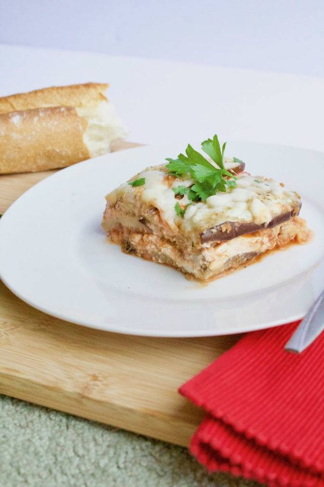 Low-Carb Eggplant Lasagna Recipe Sliced on Plate