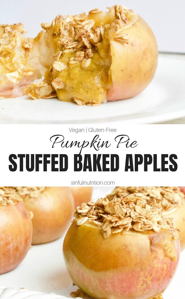 These Pumpkin Pie Stuffed Baked Apples are two healthy desserts in one! Filled with a sweet and flavorful pumpkin filling, and delicious topped with a scoop of vanilla ice cream. | @sinfulnutrition | #sinfulnutrition | #bakedapples | #falldessert | #healthybakedapples | #vegandessert | #glutenfreedessert | #appledessert