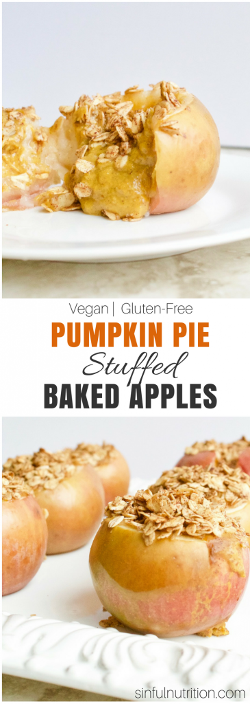 Pumpkin Pie Stuffed Baked Apples -- Two #desserts in one fall #holiday-worthy recipe! A #glutenfree and #vegan treat that's perfect for #Thanksgiving. | @sinfulnutrition | sinfulnutrition.com
