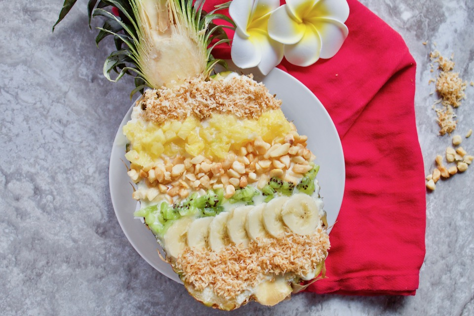 Pineapple Smoothie Recipe with Toppings In Pineapple