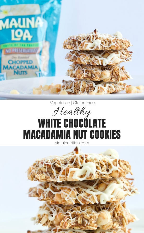 AD | These White Chocolate Macadamia Nut Cookies are sure to be your next favorite cookie recipe! Made with no added sugar, flour, or oils! | @sinfulnutrition | #sinfulnutrition | #healthycookies | #vegancookies | #glutenfreecookies