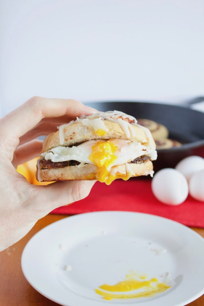 Christmas Breakfast Sandwich Recipe in Hand