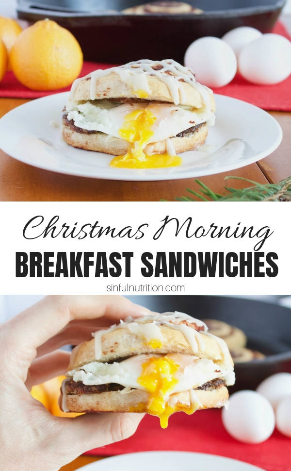 These Easy Christmas Breakfast Sandwich Recipe is the perfect combo of sweet and savory made with iced cinnamon rolls, apple chicken sausage, and crispy fried eggs. | @sinfulnutrition | #sinfulnutrition | #christmasbreakfast | #christmasrecipe | #breakfastsandwiches | #holidaybreakfast