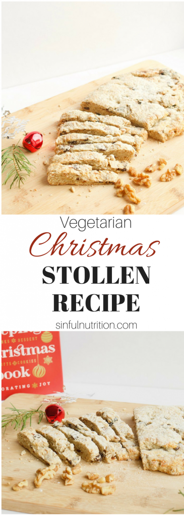 Christmas Stollen Recipe -- A hearty bread studded with dried fruit, chopped walnuts, and orange zest. The perfect holiday #breakfast treat or even dessert! | #vegetarian | #christmas | #holidays | #brunch