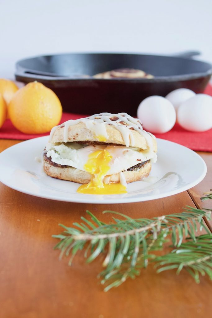 Christmas Breakfast Sandwich Recipe on plate