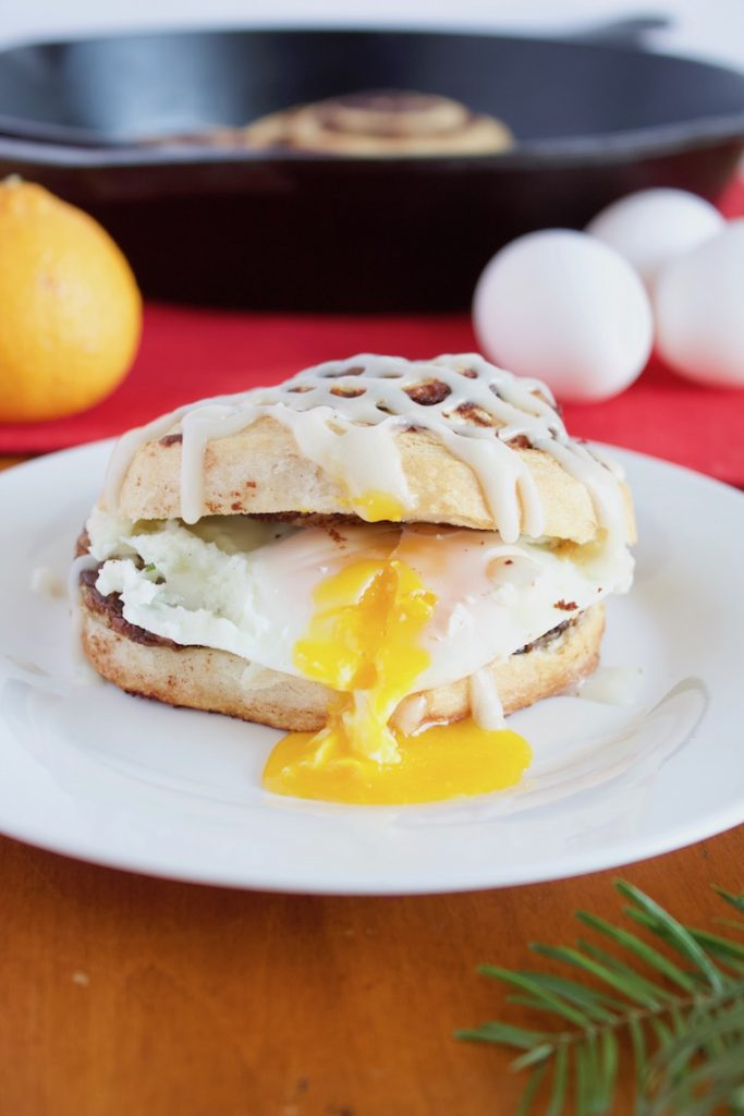 Easy Christmas Breakfast Sandwich Recipe Close Up on Plate
