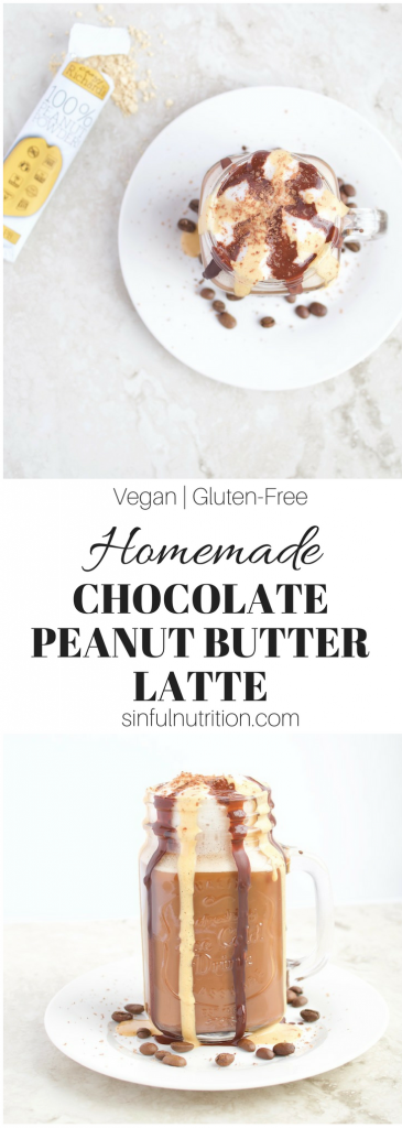 This Homemade Chocolate Peanut Butter Latte Recipe is a treat for all #coffee and #peanutbutter lovers! Made with no dairy and no added sugar. | #vegan | #glutenfree | @sinfulnutrition