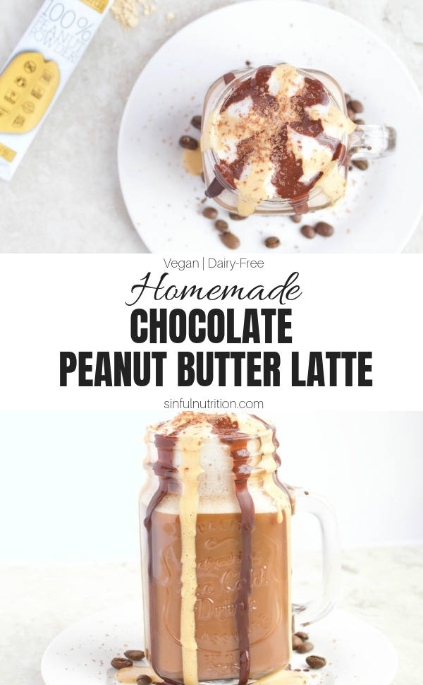 This Homemade Chocolate Peanut Butter Latte Recipe is a treat for all coffee and peanut butter lovers! Made with no dairy and no added sugar | @sinfulnutrition #sinfulnutrition #homemadelatte #peanutbutterlatte #veganlatte