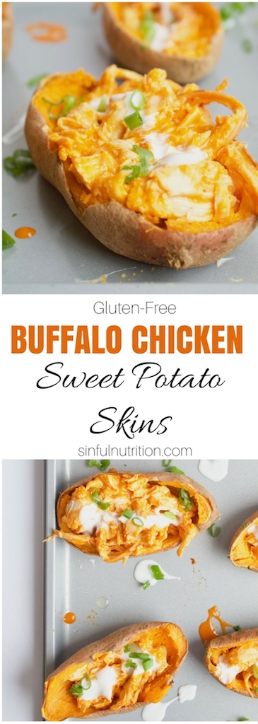 Healthy Buffalo Chicken Sweet Potato Skins - A super simple recipe that is the perfect blend of sweet and spicy. Great for game day or easy entertaining! | #glutenfree | #gameday | #appetizer | @sinfulnutrition