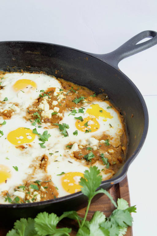 Butternut Squash Shakshuka in Cast Iron Pan