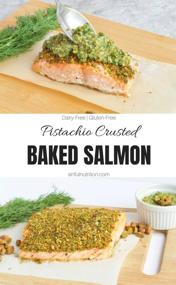 Healthy Pistachio Crusted Salmon with Text Overlay