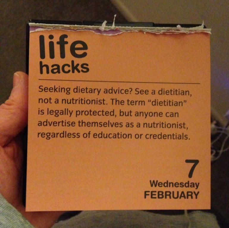 Life Hacks Desk Calendar Dietitian